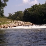 View upstream towards wave from Peachtree Creek and access trail.